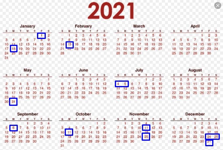 2021 Federal Holiday Calendar - List Of United States Federal Holidays