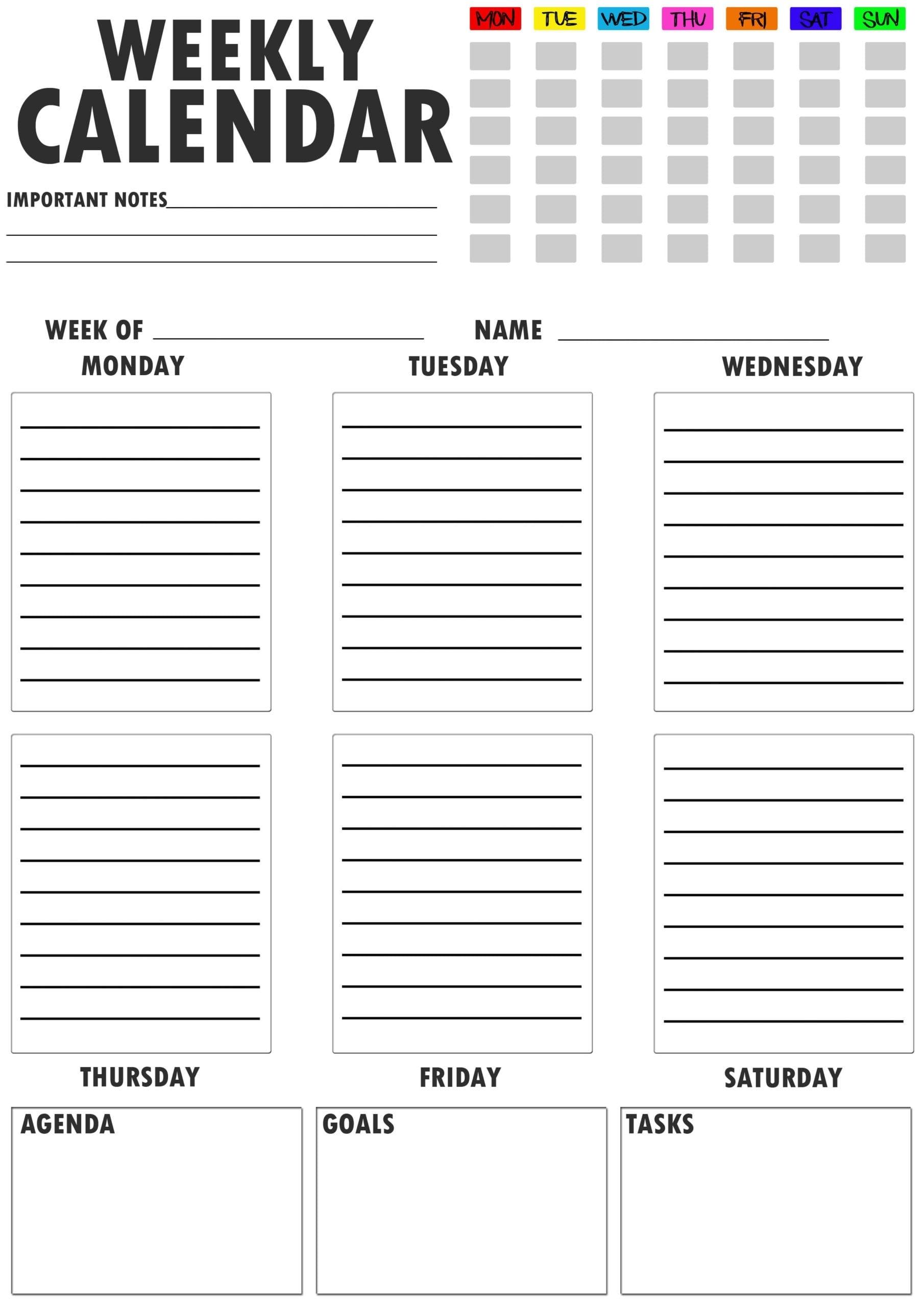 2021 Free 21+ Printable Weekly Planner- Weekly Schedule Template Pdf