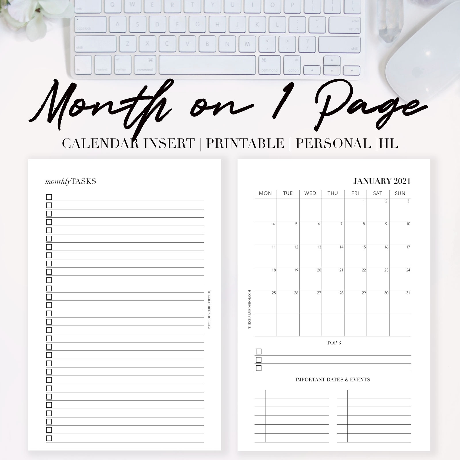 2021 Month On One Page Calendar {Printable Pdf} - The Charmed Shop