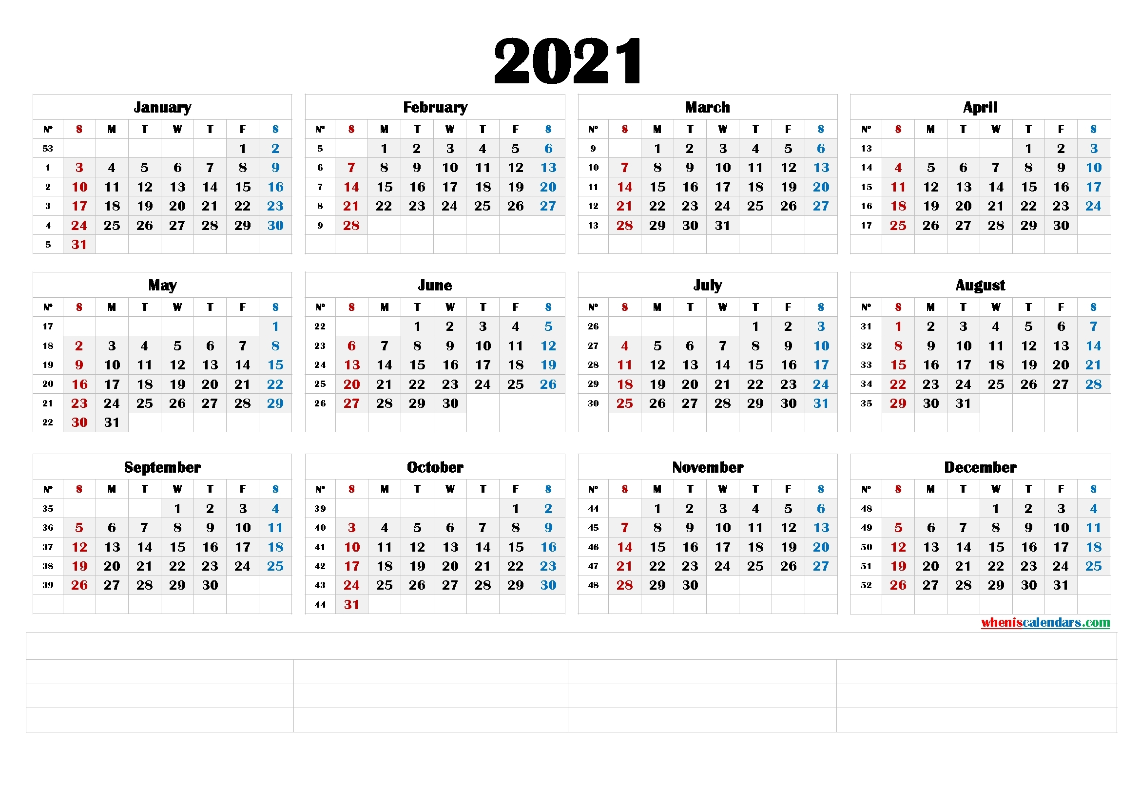 2021 Printable Yearly Calendar With Week Numbers (6 Templates)