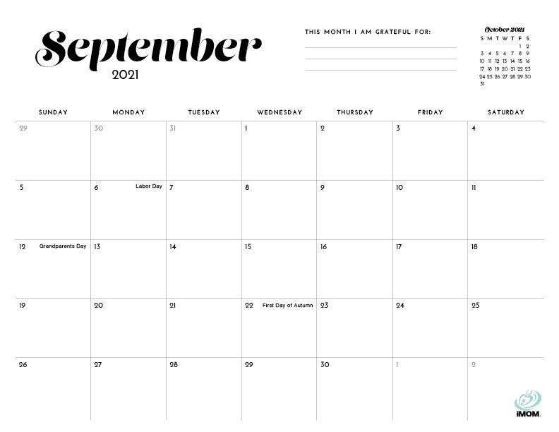 2021 Simple Printable Calendar For Moms - Imom