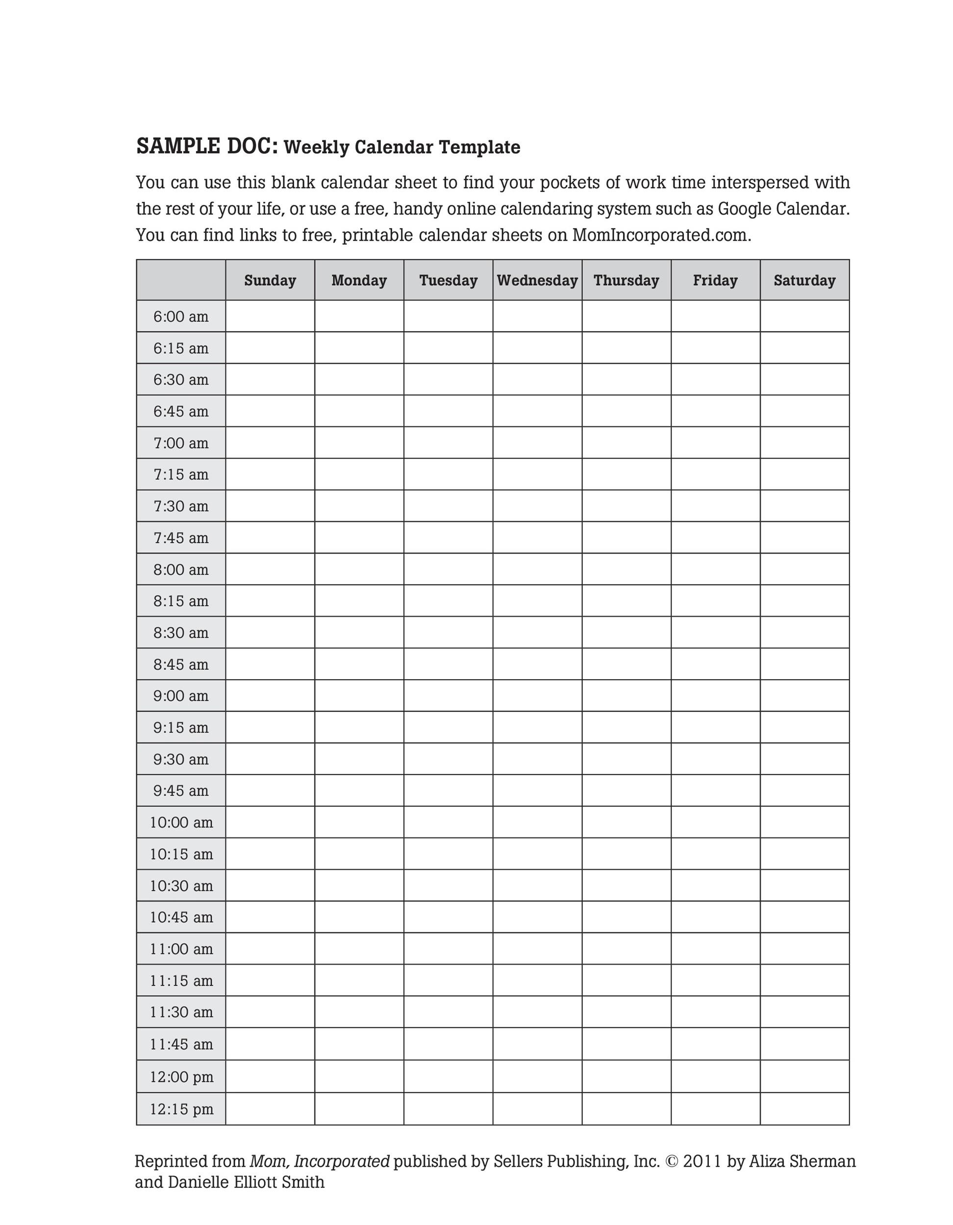 26 Blank Weekly Calendar Templates [Pdf, Excel, Word] ᐅ Templatelab