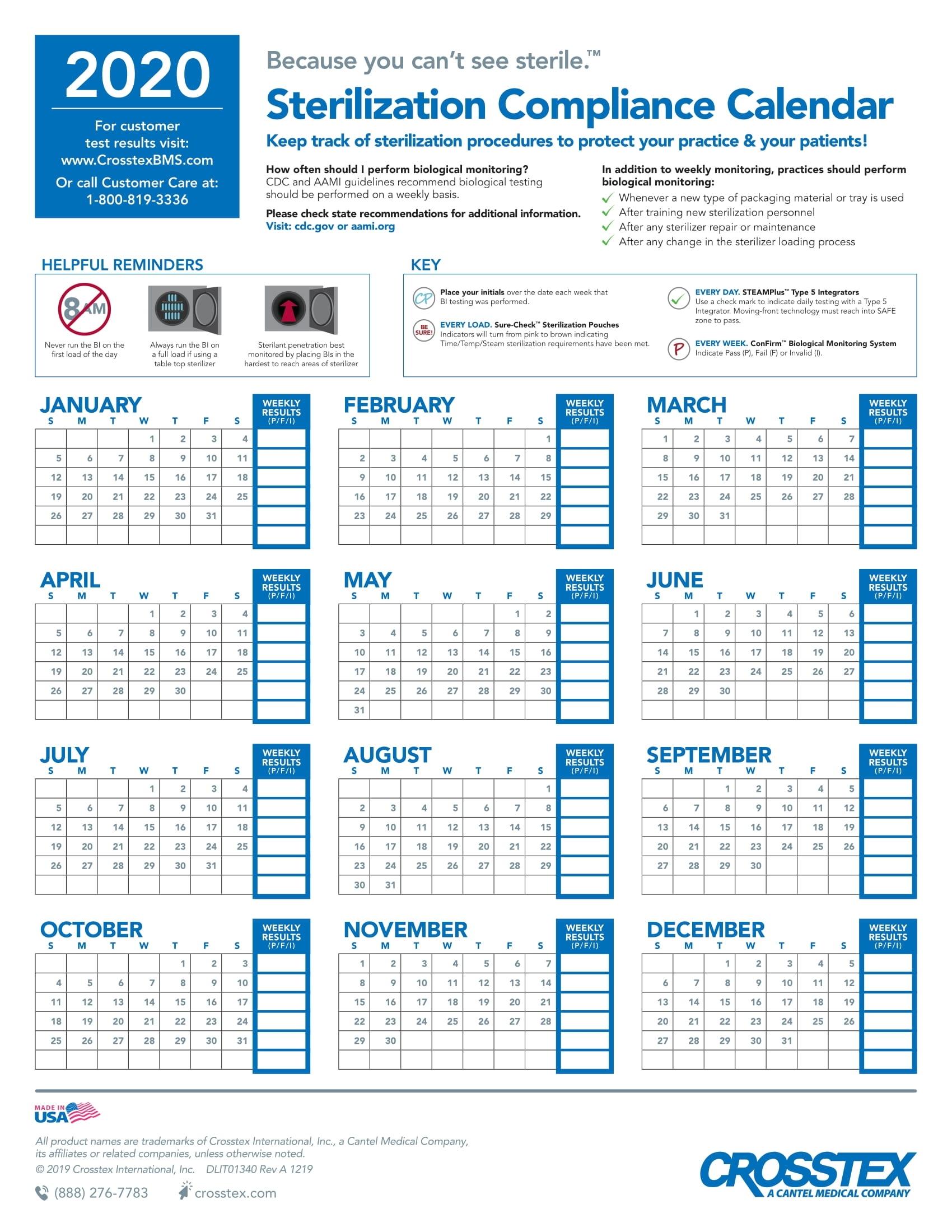 28 Day Vial Expiration Calendar 2020