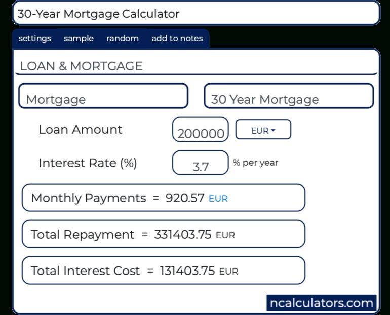 30-Year Mortgage Calculator
