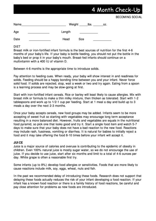 4 Month Check-Up Doctors Note Template Printable Pdf Download