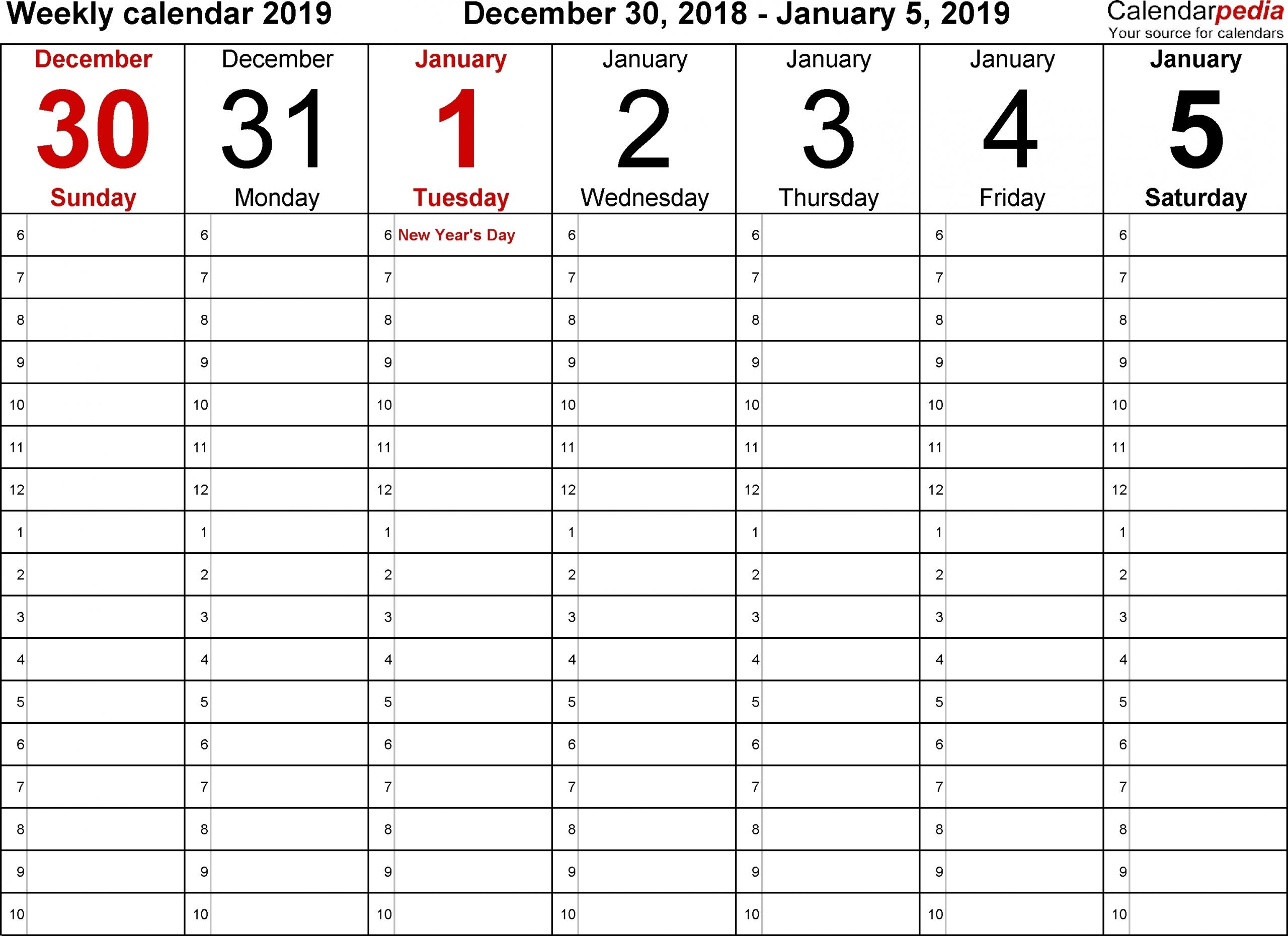 5 Day Week Blank Calendar With Time Slots Printable - Calendar Inspiration Design