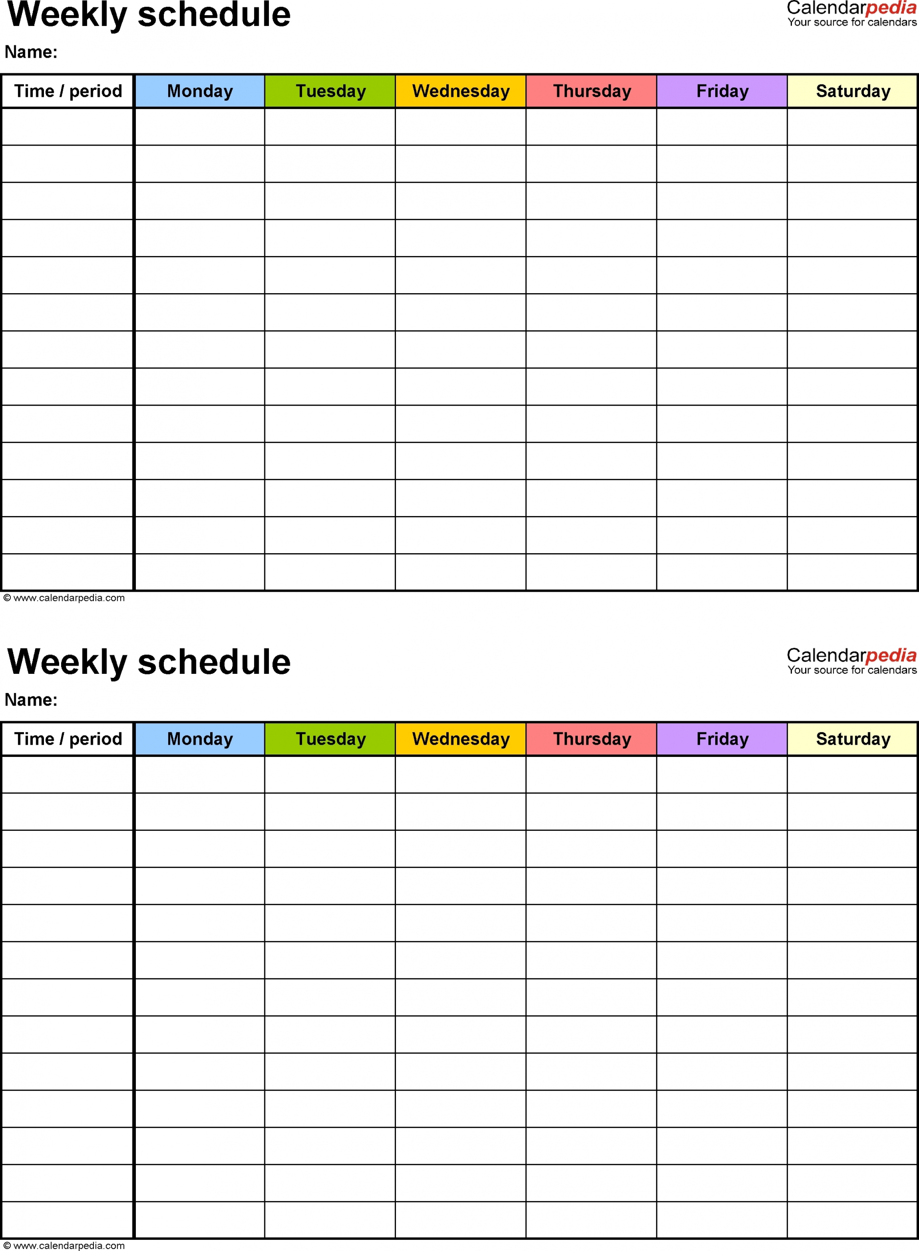 5 Day Weekly Timetable Blank 6 Periods - Calendar Inspiration Design