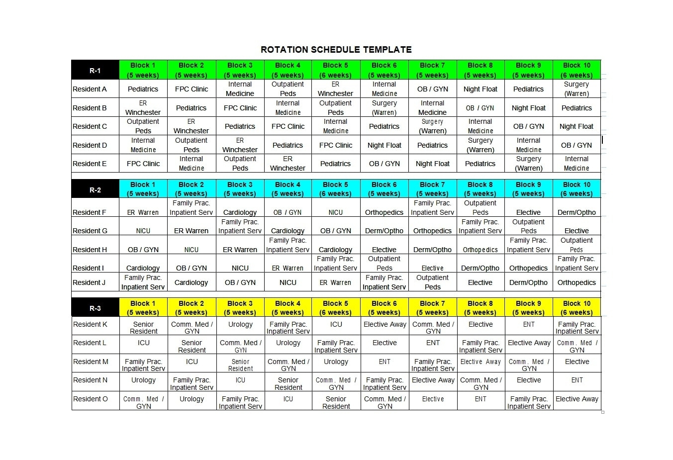 50 Free Rotating Schedule Templates For Your Company - Templatearchive
