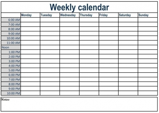 6 Day A Week Claendar With Time Slots | Printable Calendar Template 2020