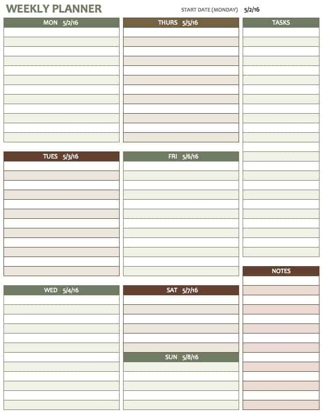 6+ Weekly Task Planning Calendars - Word Templates