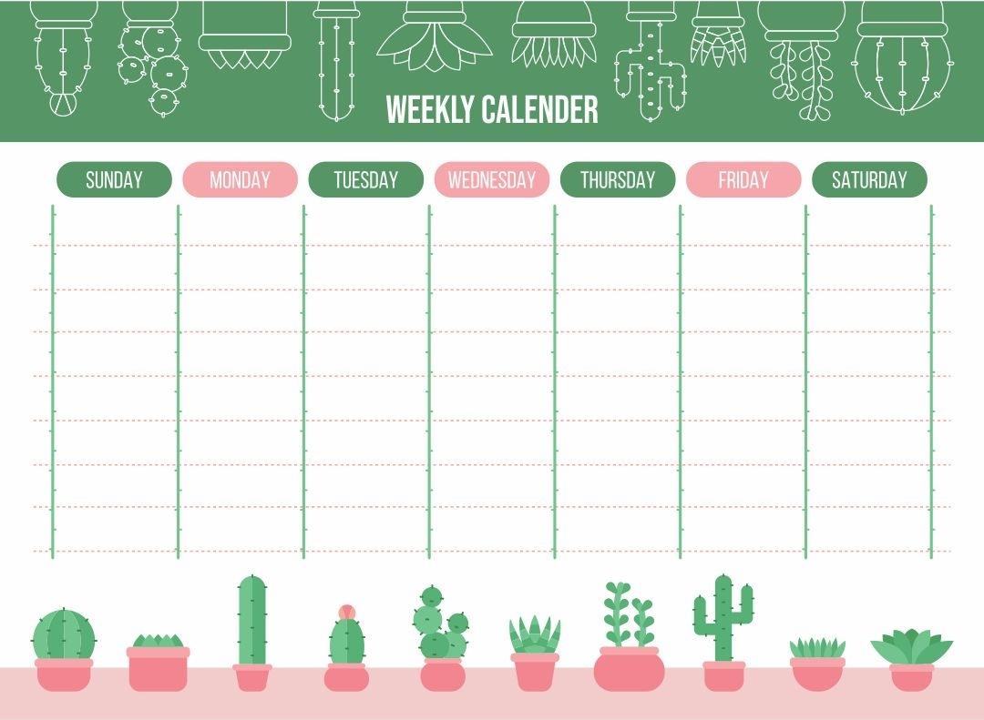 8 Best Cute Printable Weekly Calendar Template - Printablee