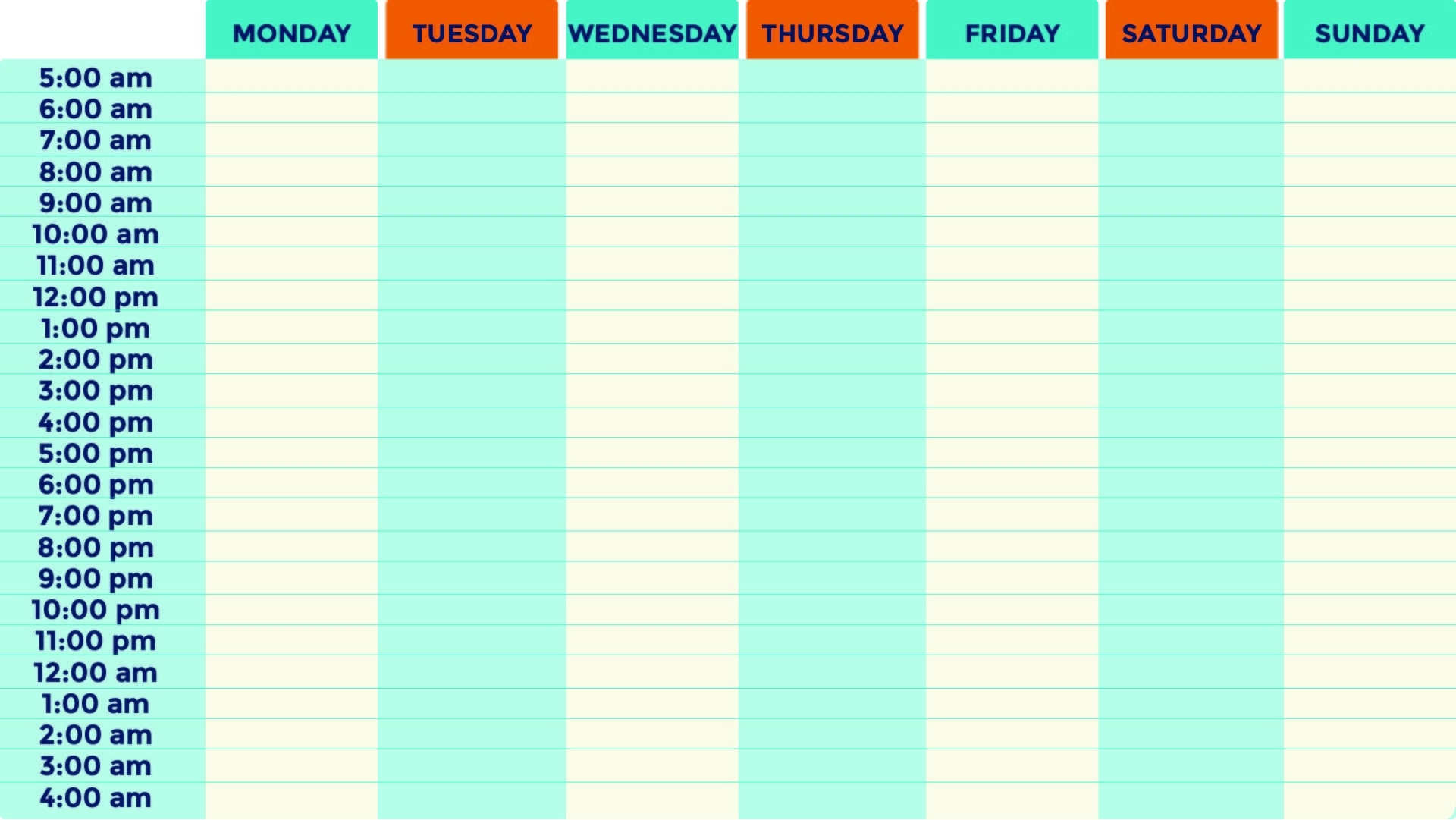 9 Best Printable Blank Weekly Time Slots - Printablee