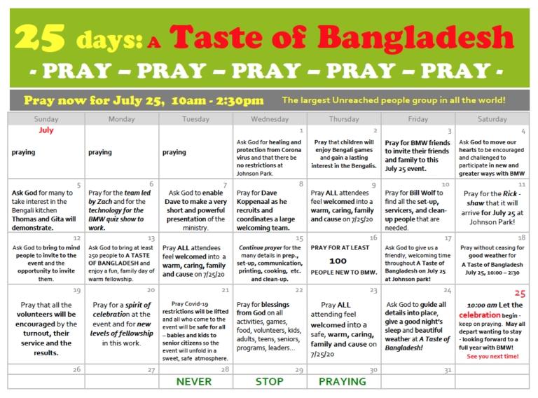A Taste Of Bangladesh Prayer Calendar July