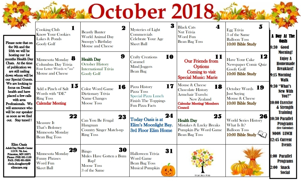 Activities Calendar | Elim Oasis Adult Day Center