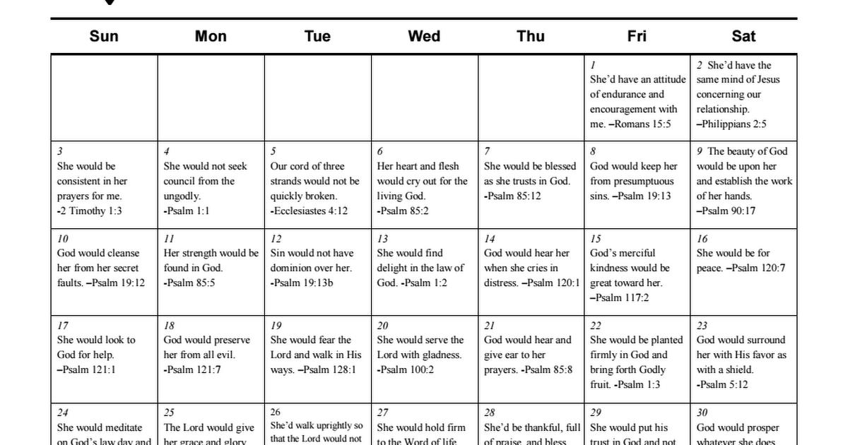 April Scripture Prayer Calendar For My Wife.pdf | Scripture, Prayers, Calendar
