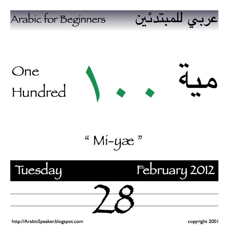 "Arabicspeaker: Today'S Number Is One Hundred ١٠٠ Pronounced ""Mi-Yæ"" مية"