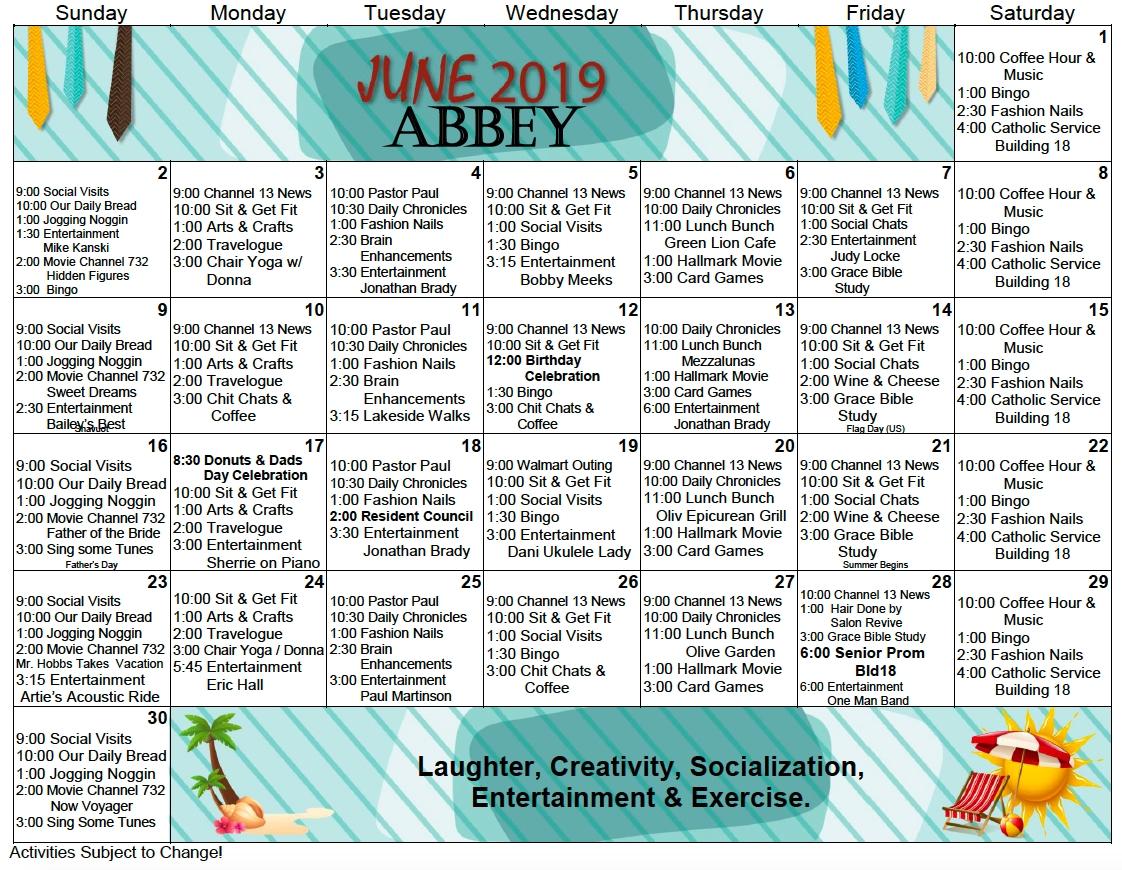 Assisted Living Activity Calendar | Printable Calendar 2020-2021