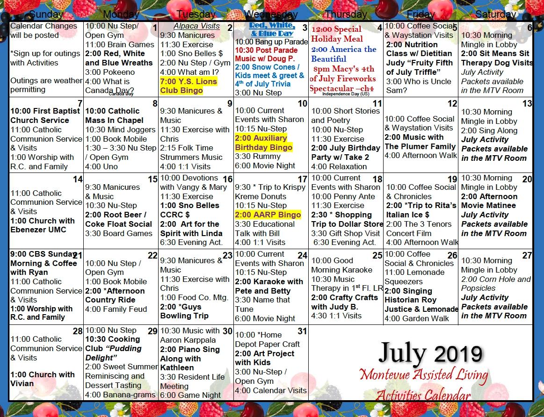 Assisted Living Activity Calendars | Printable Calendar 2020-2021