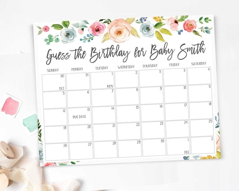 Baby Due Date Calendar Printable Game Guess Baby Birthday | Etsy