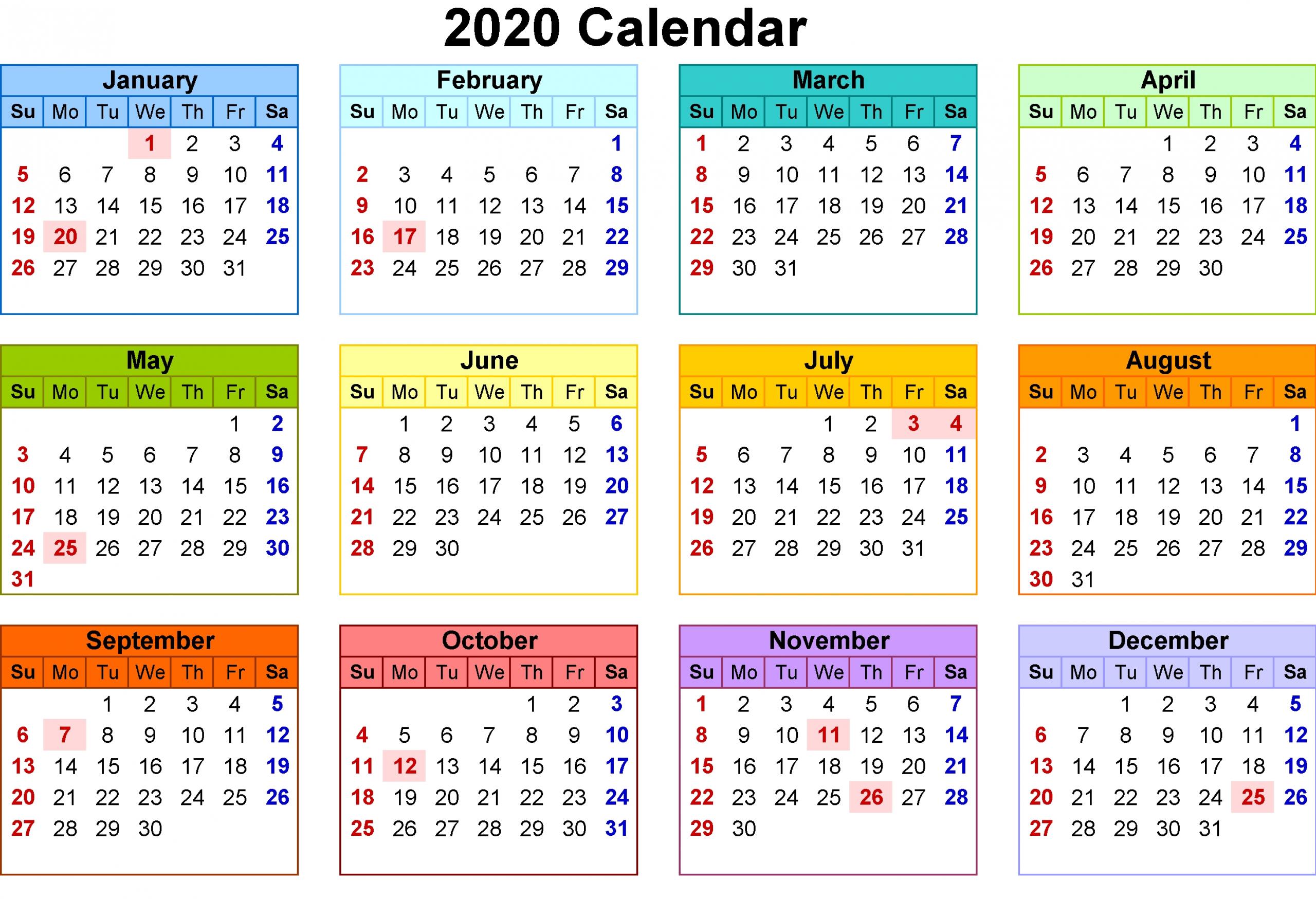 Beautiful Wallpaper Calendar For 2020 | Free Printable Calendar
