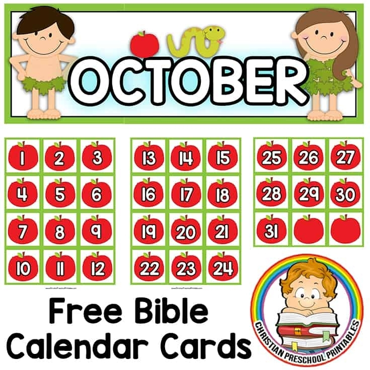 Bible Calendar Printables - Christian Preschool Printables