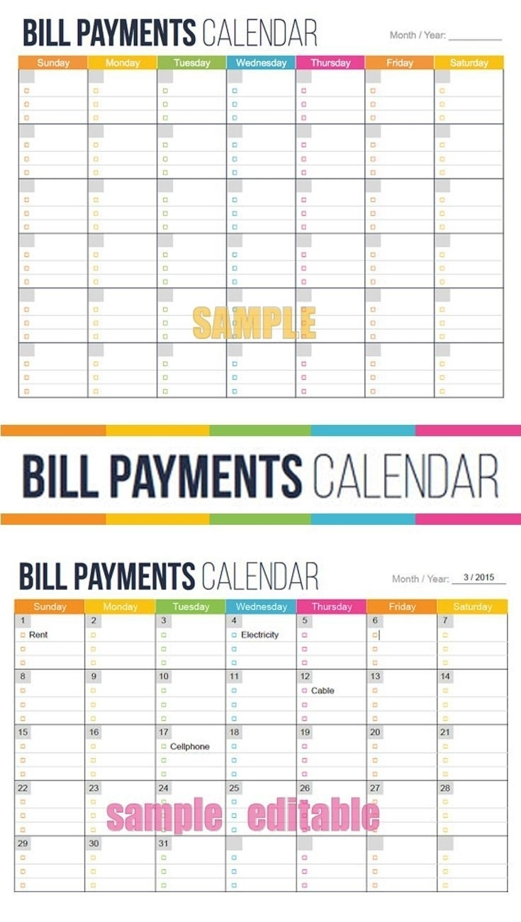 Bill Due Date Calendar Printable - Calendar Inspiration Design