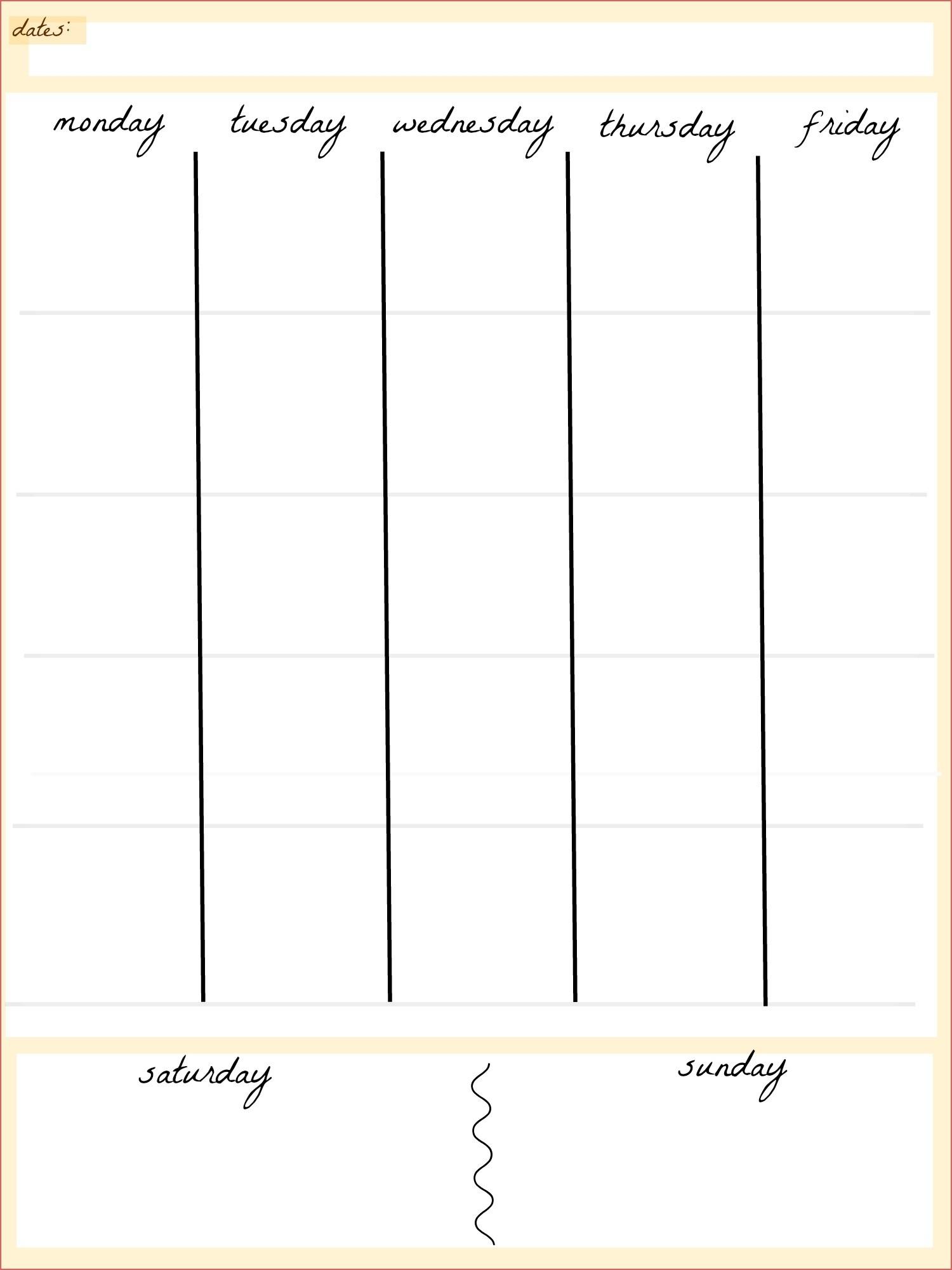 Blank 5 Day Calendar Printable - Calendar Inspiration Design