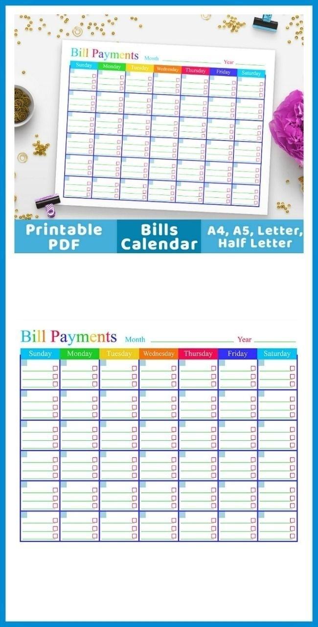 Blank Bill Calendar Printable Colorful | Calendar Template Printable Free | Calendar Printables