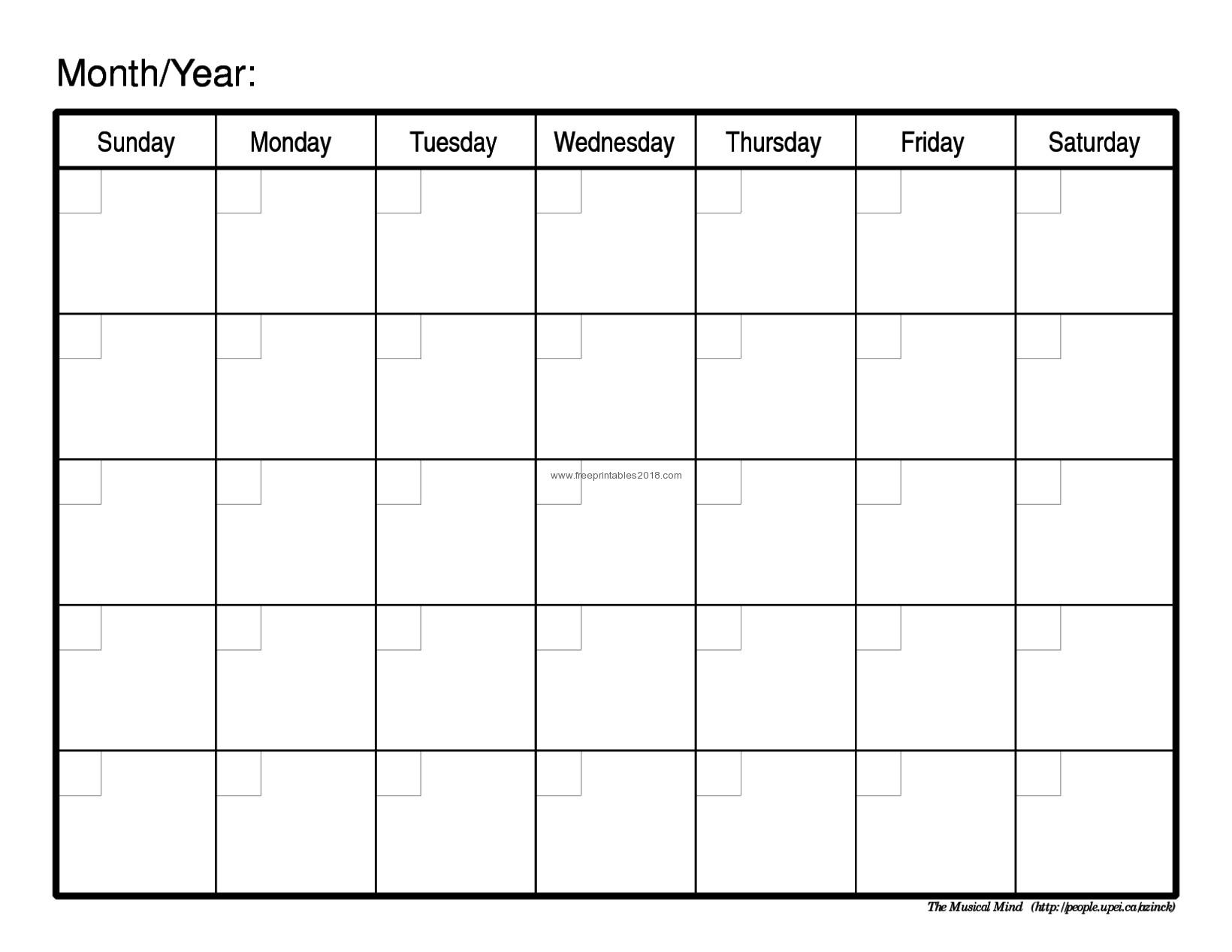 Blank Printable Calendar By Month With Notes - Calendar Inspiration Design