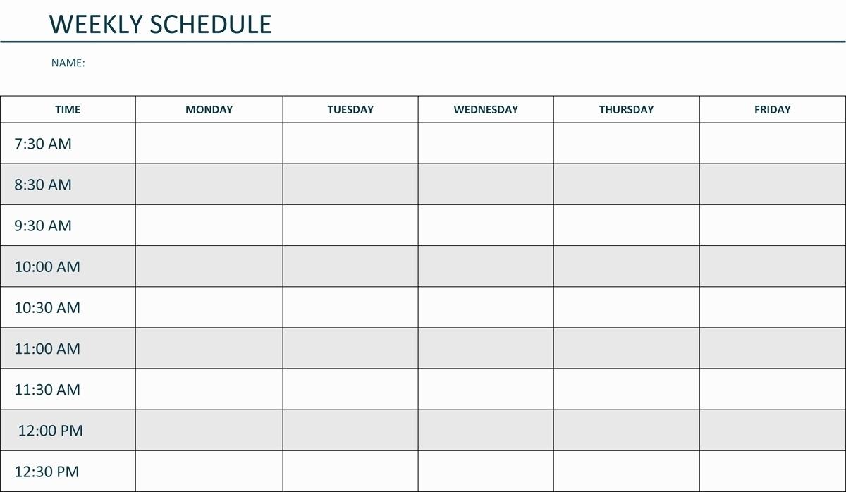 Blank Weekly Am/Pm Schedule Template - Calendar Inspiration Design