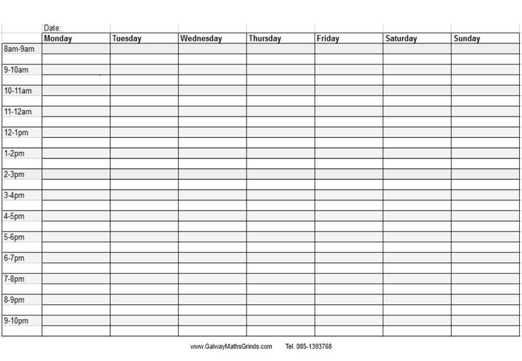 Blank+Weekly+Calendar+Template+With+Times | Timetable Template, Daily Schedule Template, Weekly