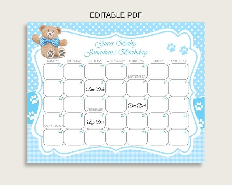 Blue Brown Guess Baby Due Date Calendar Game Printable Teddy   Etsy