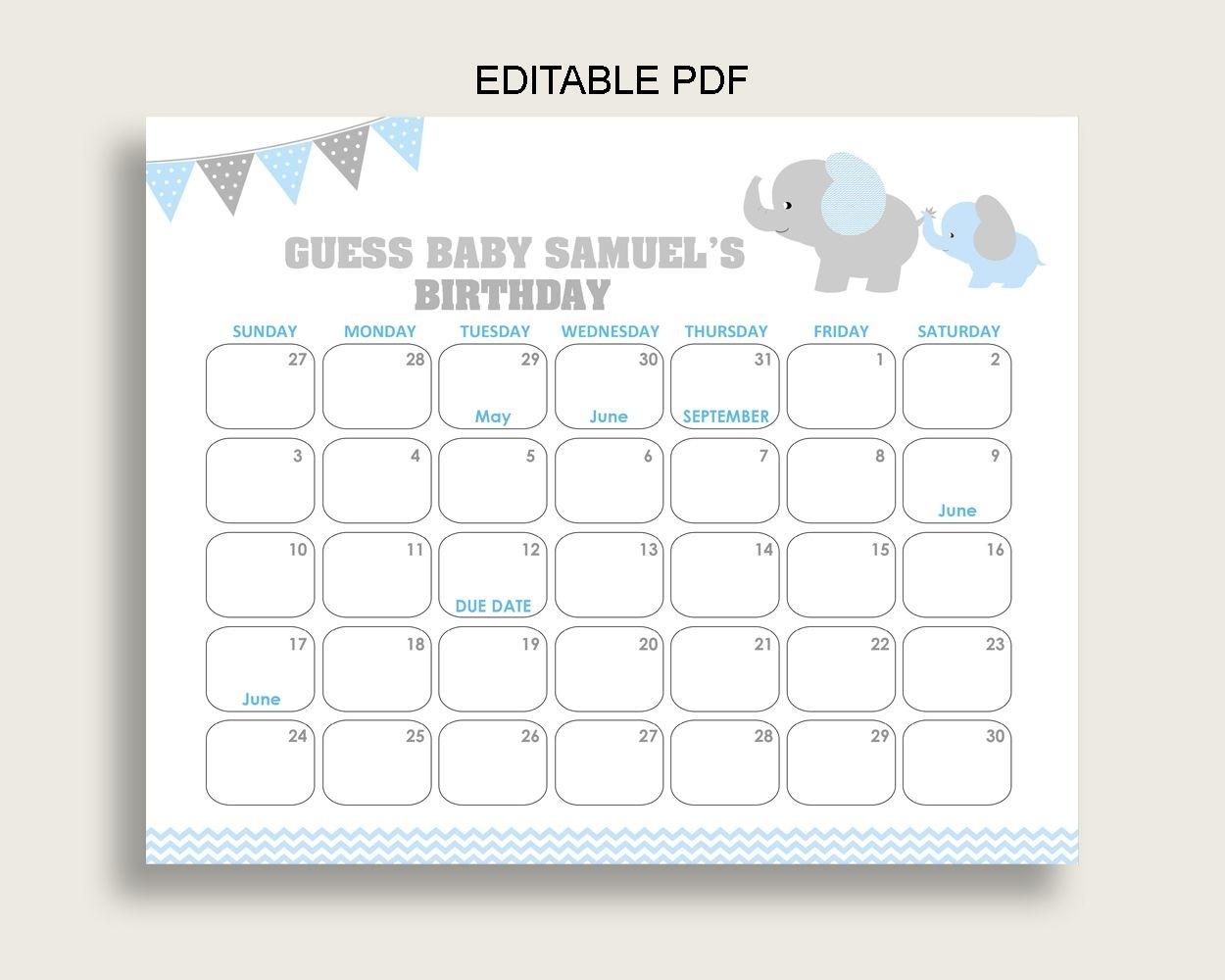 Blue Grey Guess Baby Due Date Calendar Game Printable, Elephant Baby Shower Boy Birthday