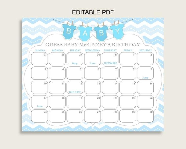 Blue White Guess Baby Due Date Calendar Game Printable, Chevron Baby Shower Boy Birthday