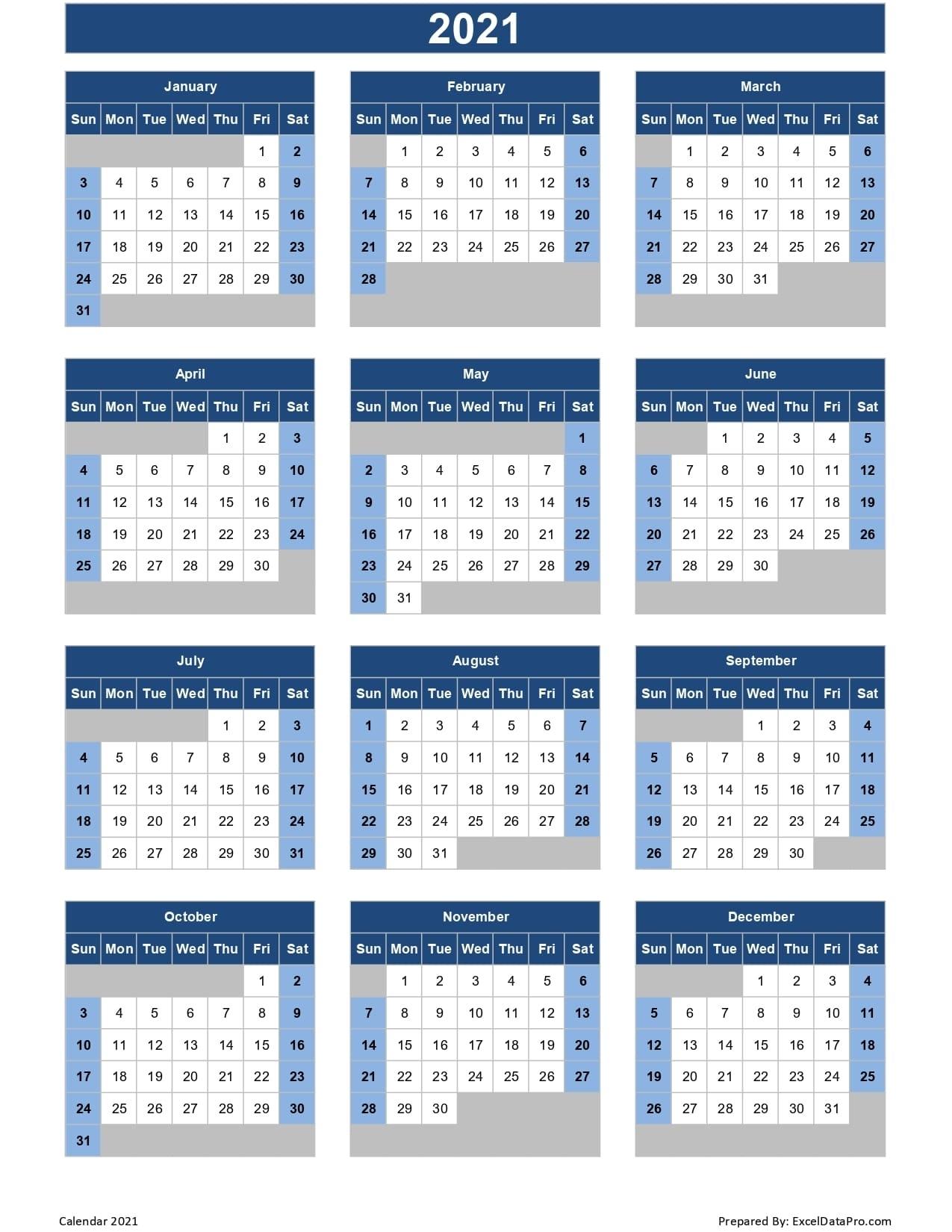 Calendar 2021 Excel Templates, Printable Pdfs & Images - Exceldatapro