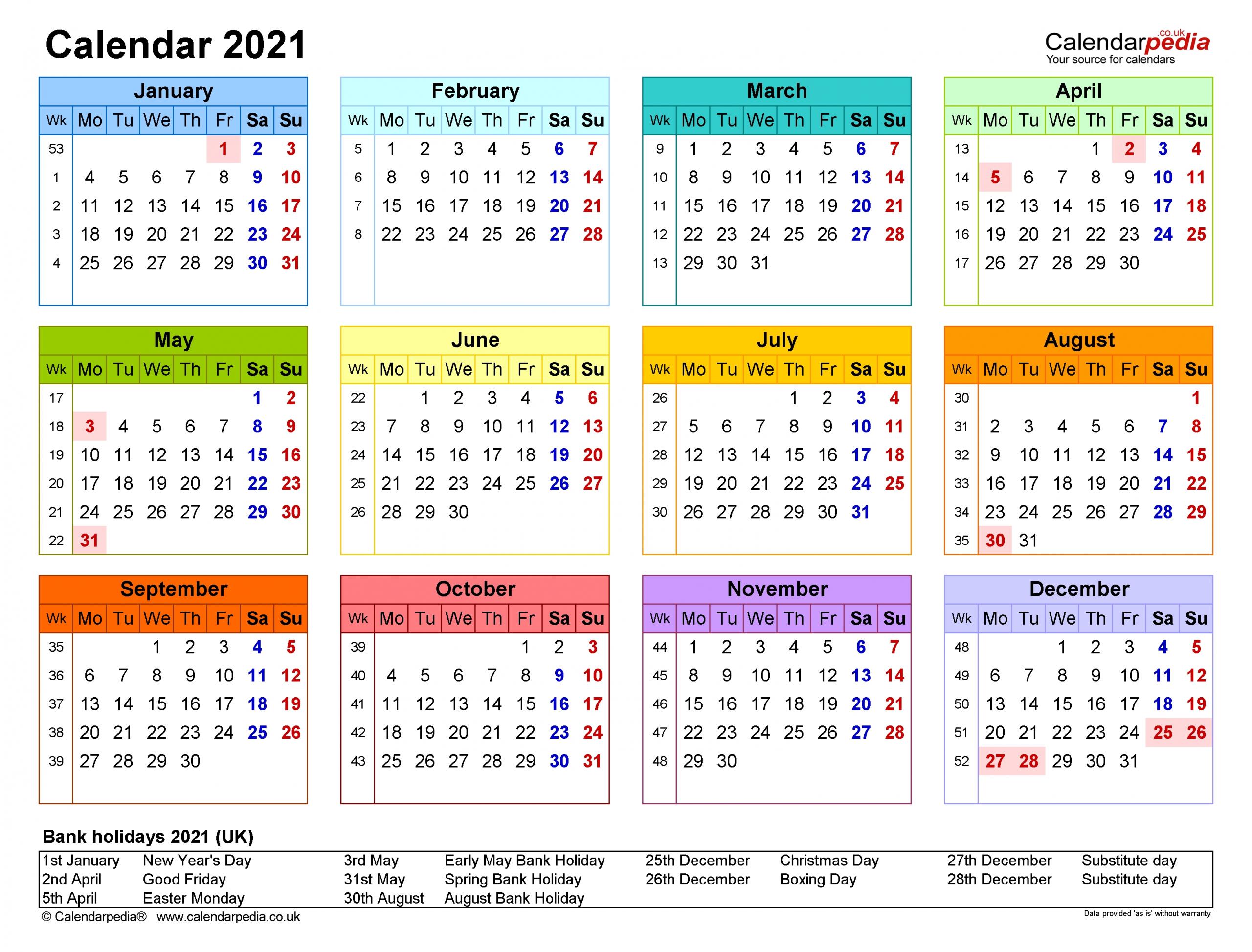 Calendar For Year 2021 United Kingdom   2021 Calendar