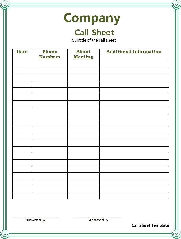 Call Sheet Format | Free Word Templates
