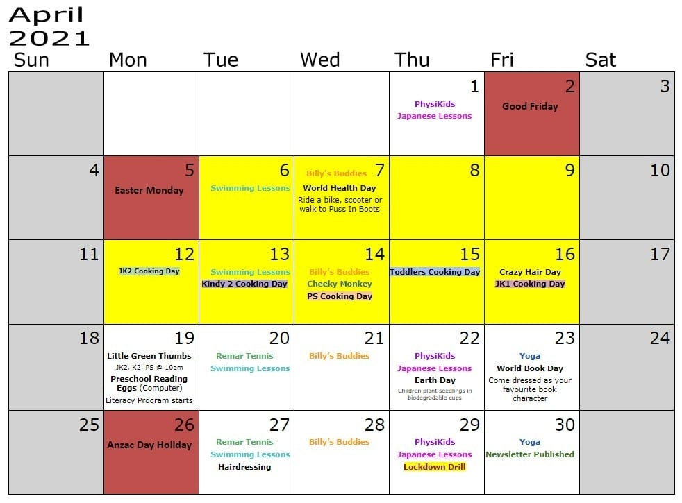 Childcare Centre Event Schedule 2021 - Puss In Boots