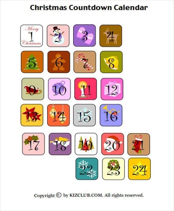 Countdown Calendar Templates Di 2020