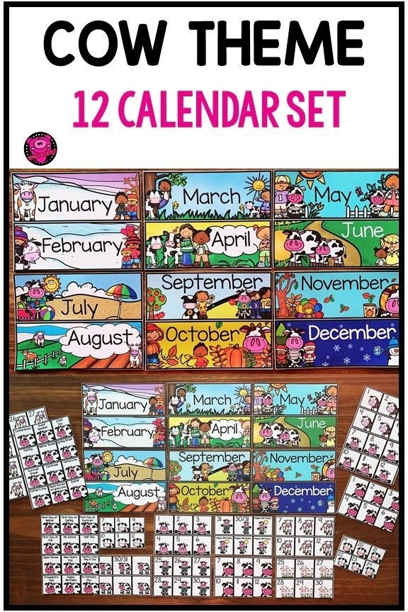 Cows 12 Month Calendar With Illustrated Numbers   Classroom Calendar, Classroom, Classroom Themes