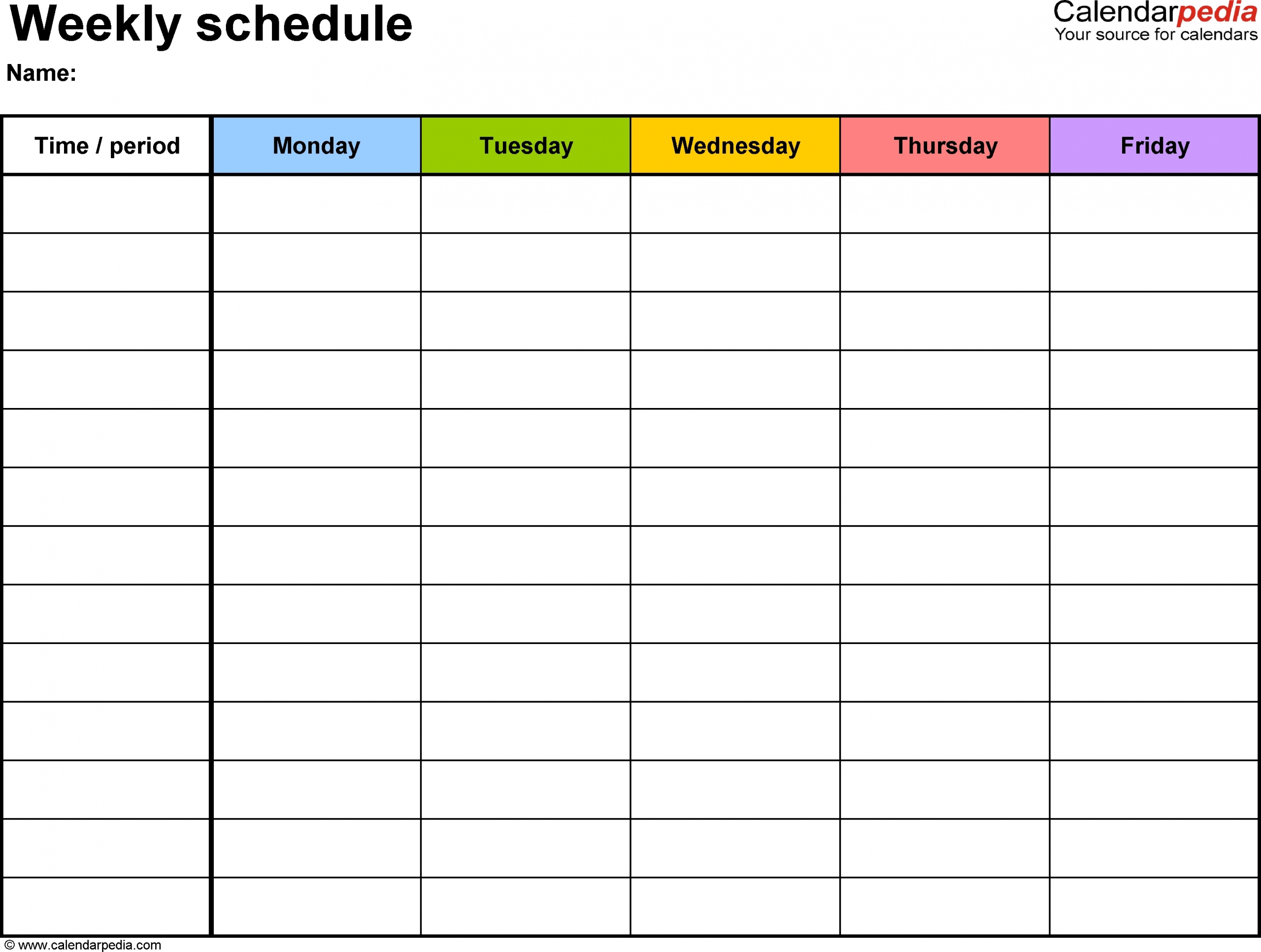 Cute Blank Week Calender Templates | Free Calendar Template Example