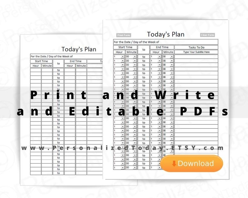 Daily Planner With Time Slots Download Editable Blank Undated   Etsy