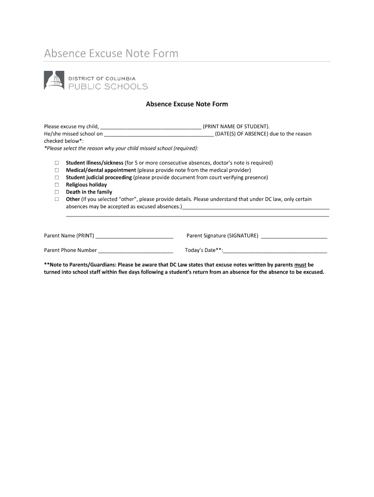 Dc Absence Excuse Note Form - Fill And Sign Printable Template Online | Us Legal Forms