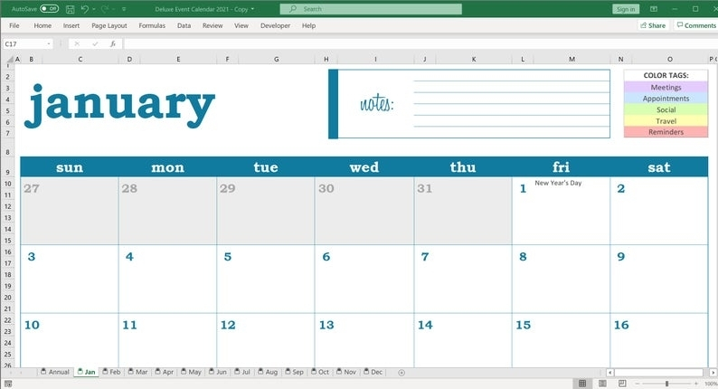 Deluxe Event Calendar 2021 Excel Template Printable   Etsy