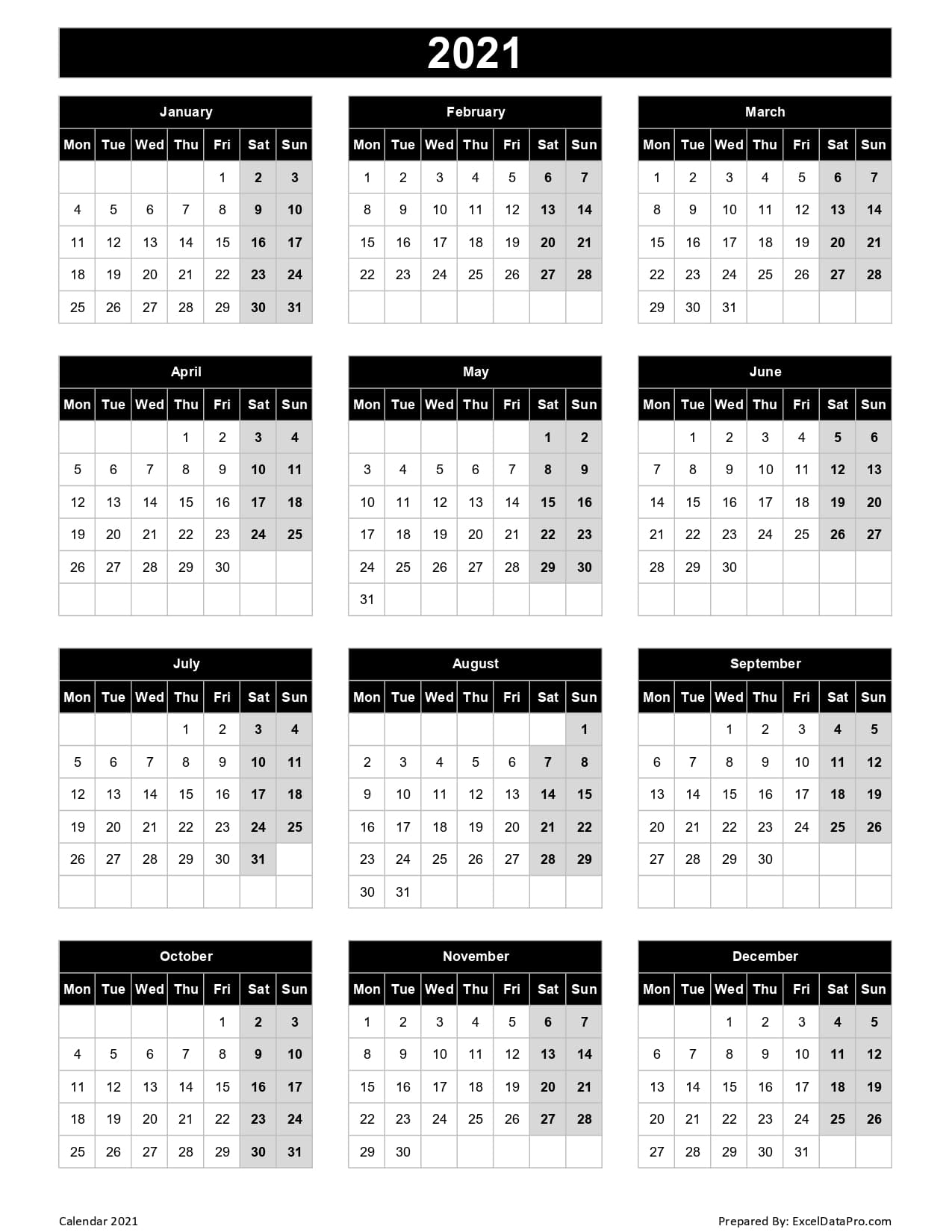 Download 2021 Yearly Calendar (Mon Start) Excel Template - Exceldatapro
