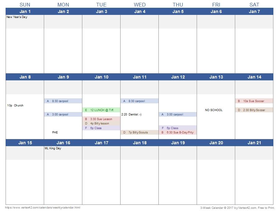 Download A 3-Week Calendar Template From Vertex42 | Excel Calendar Template, Weekly Calendar