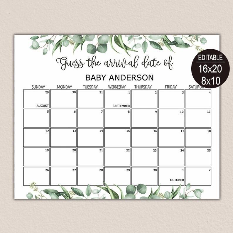 Due Date Calendar Greenery, Guess Baby Birthday Calendar, Baby Due Date Calendar, Greenery Baby