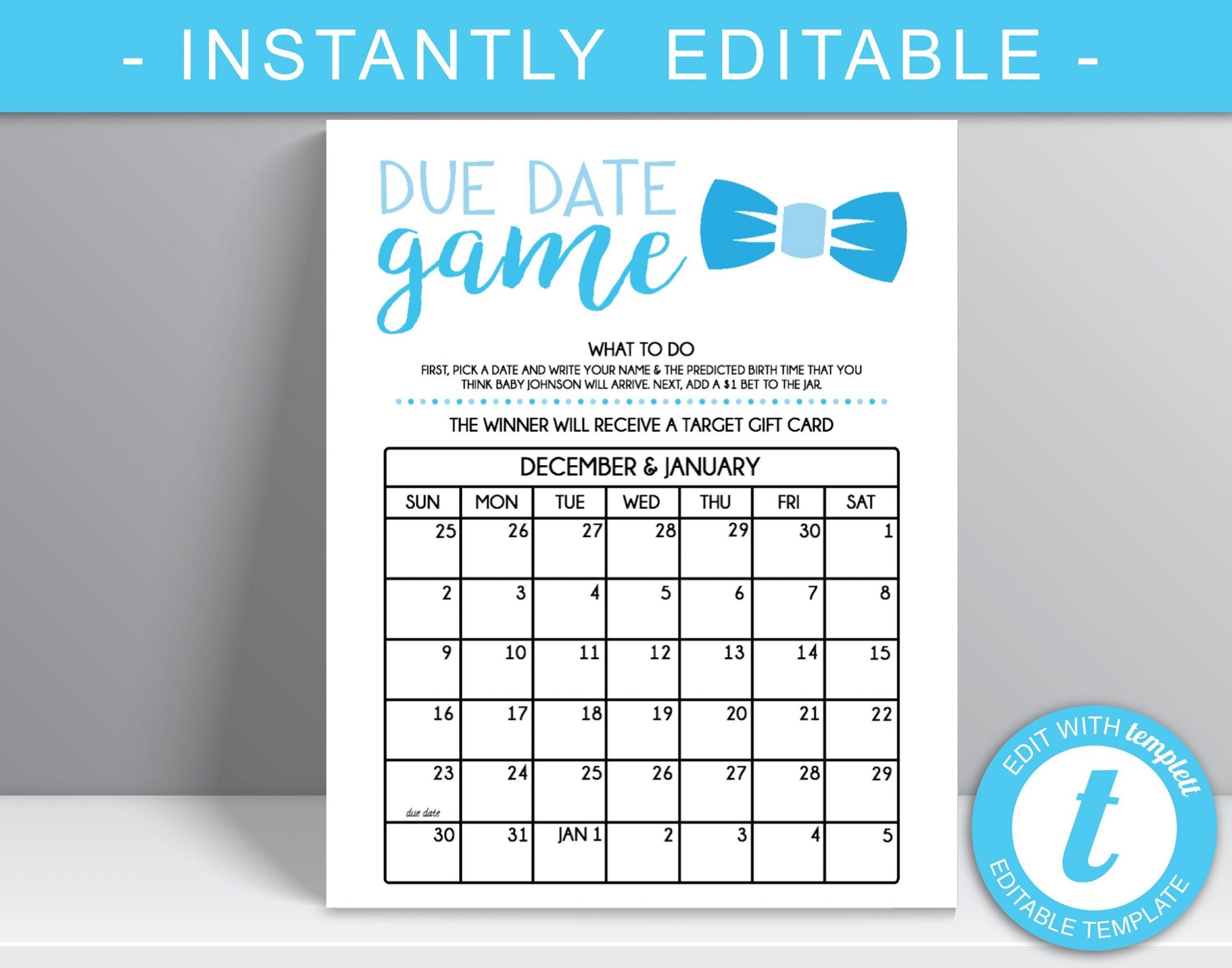 Due Date Game 16X20 Poster File, Guess The Due Date Game, Prediction Calendar, Boy Baby Shower