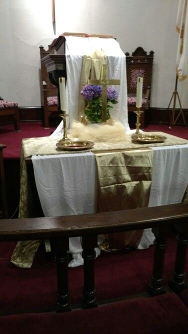 Easter Altar At Asbury Umc, Asbury, Nj | Altar Arrangement, Altar, Inspiration