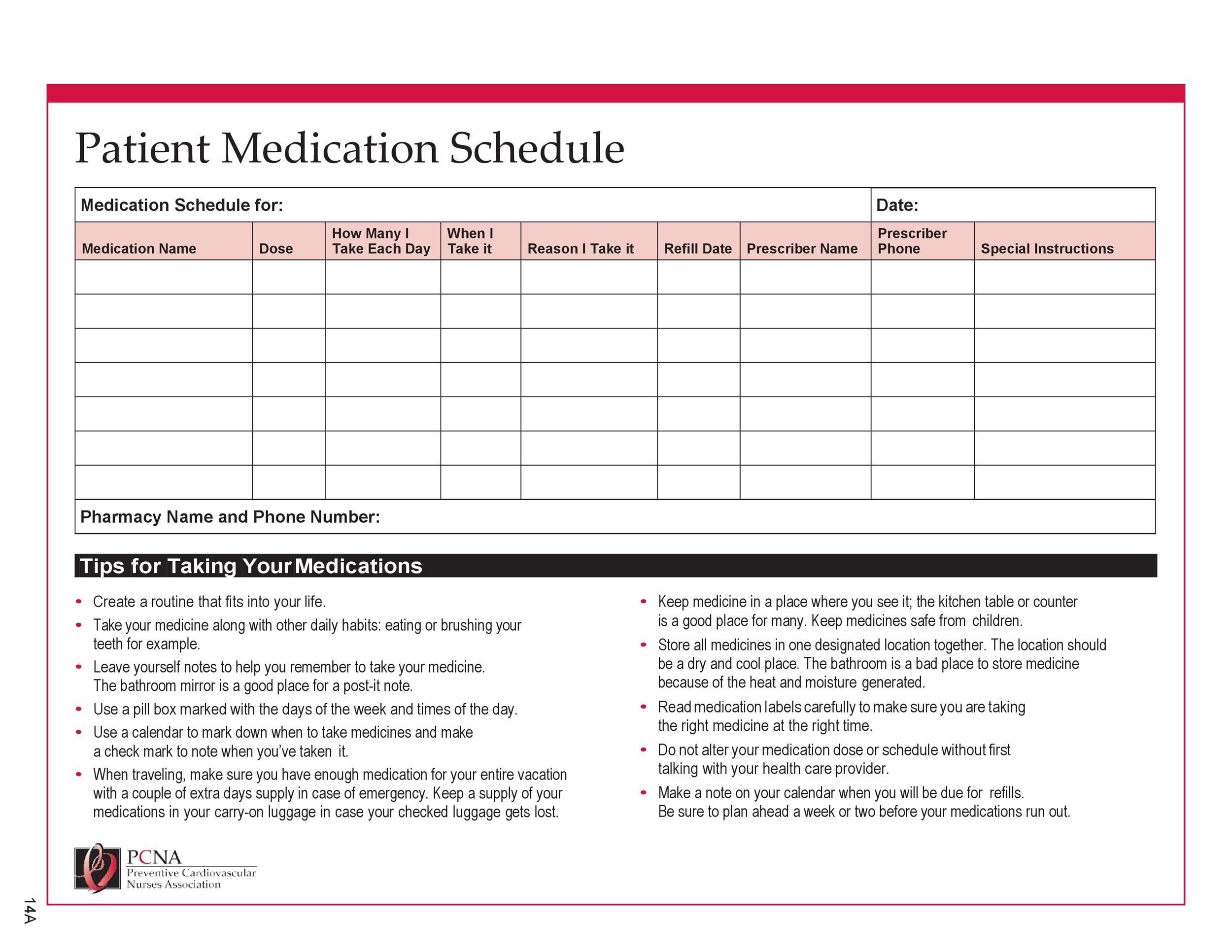 Effective 28 Day Medication Calender   Get Your Calendar Printable